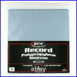 1000 BCW 33 RPM Record Sleeves Plastic Outer LP Cover Bag Album Protection 2 Mil
