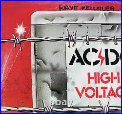 AC/DC (4) Scott, Angus, Malcolm & Rudd Signed High Voltage Album Cover BAS