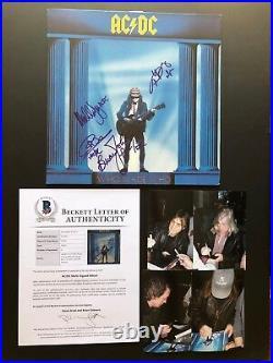 AC/DC RARE! Who Made Who signed by 4 album cover Beckett BAS cert PROOF