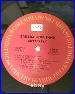 Barbra Streisand Signed Autographed 1974 Butterfly Album Cover Coa