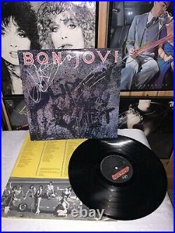 Bon Jovi Slippery Orig Lineup Autographed Album LP Cover Vinyl Guarantee 100%