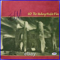 Edge U2 The Unforgettable Fire Signed Album Cover With Vinyl PSA/DNA #Q45770