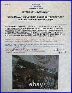 Frank Zappa-Autographed Overnight Sensation Album Cover-COA