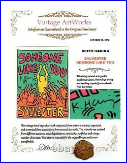 Hand Signed Keith Haring Pop Art Record Album Cover Designed by Haring