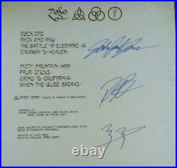 Led Zeppelin Signed Record Album Dust Cover x3