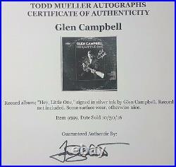 Rhinestone Cowboy Glen Campbell Hand Signed Album Cover Todd Mueller COA