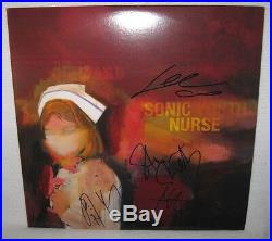 Sonic Youth (4 Autos) Signed'sonic Nurse' Album Cover Psa/dna Loa