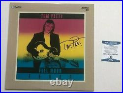 TOM PETTY Signed FULL MOON FEVER LP Laser Disc ALBUM COVER with Beckett BAS COA