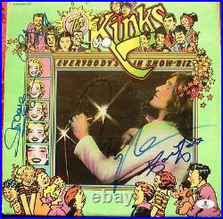 The Kinks 4x signed LP Album Cover Everybody's In Show-Biz BAS Beckett Davies
