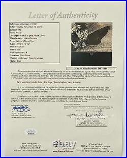 U2 Signed Autograph 12' Album Cover With or Without You x4 JSA Letter