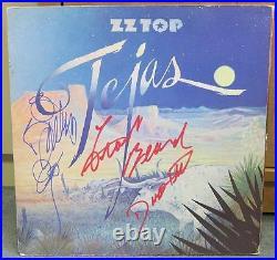 ZZ TOP Signed Tejas Album Cover All 3